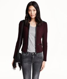 {Knit Faux Leather Cardigan in Dark Red - H&M - under $50}