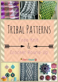 Check out these free crochet and knitting patterns that feature unique tribal print designs!