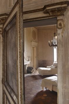 a secret door in paneling  with a mirror!