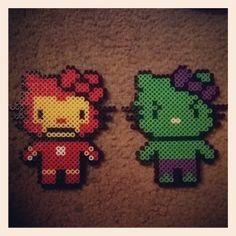 Iron Hello Kitty & Hulk Hello Kitty perler beads by dezarroyo