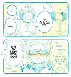 Hello there! Viria is here. Haikyuu Manga, Tsukiyama Haikyuu, Haikyuu Funny, Haikyuu Fanart, Tsukishima X Yamaguchi, Haikyuu Tsukishima, Haikyuu Volleyball, Volleyball Anime, Kagehina