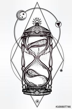 hand drawn romantic beautiful drawing of a hourglass vector illustration isolated tattoo design mystic time symbol for your use - PIPicStats Kunst Tattoos, Tattoo Drawings, Body Art Tattoos, Tatoos, Art Drawings, Male Leg Tattoos, Rib Tattoos For Guys, Simple Tattoos For Guys, Cross Tattoos