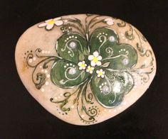 Hand painted shamrock stone floral art by EmmysHeartsnCrafts
