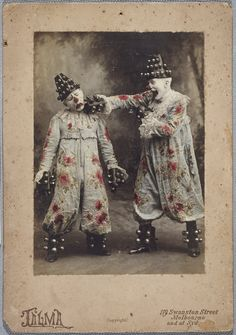 Jandaschewsky Clowns 1900, Australia ~ These two are especially creepy in their flowery costumes... makes my skin crawl