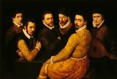 16th c Bartolomeo Passarotti (attr.) - A Group of Six Men, Including a Self Portrait