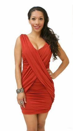1b76760ade Amazon.com  Sexitu Womens Red Bodycon Ruched Draped Dress  Clothing Draped  Dress