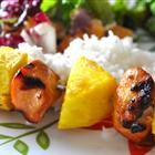 Hawaiian marinated chicken kabobs!  Marinate w/ soy sauce, brown sugar, sherry, sesame oil,  honey, rice vinegar, ginger, and garlic. Alternate pineapple chunks and red bell peppers on the kabob. Substitute steamed brown rice for a healthier version!