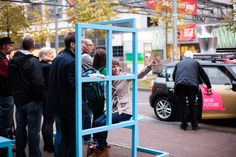 Installation Waiting Rooms by Izabela Boloz - temporary taxi stops which add a positive vibe to the waiting experience in public space. #architecture #busstop #installation #design #izabelaboloz #publicspace