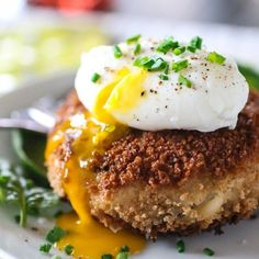 Cheesy Risotto Cake with Poached Egg.