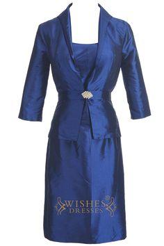 A-line Navy Taffeta Knee Length Mother of The Bride Dress Am195