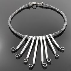 Silver Flair Necklace on Kumihimo Braid with Silver