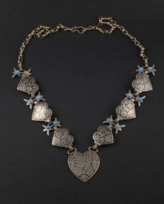 Egypt   Vintage black enameled and flower beads with blue glass necklace   Handmade for a silver alloy ~ low silver content