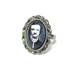 Gothic Necklace Edgar Allan Poe RingBy by MizzMechanique on Etsy, $25.00  #gothic #horror #halloween #anatomy #boebot #oddity #punk #rocknroll #metal