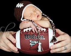 Newborn Baby Football Earflap Hat  READY TO SHIP by HelensCrafts, $10.00