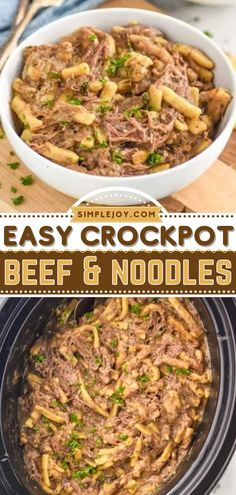 Craving good comfort food? Learn how to make Beef and Noodles! Very hearty and filling, this crock pot meal is the perfect dinner the whole family will love on Crocktober. Add this easy slow cooker recipe to your rotation! Crock Pot Food, Crock Pot Slow Cooker, Slow Cooker Recipes, Crockpot Recipes, Easy Recipes, Beef And Noodles, Easy Meals, Stuffed Peppers, Dinner Ideas