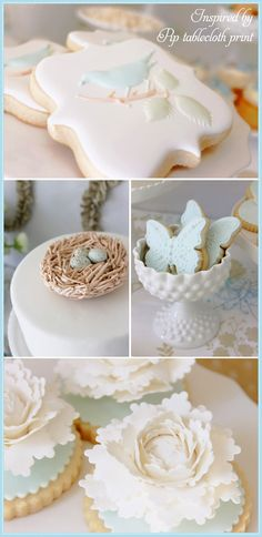 Love the pale pastels on this little bird.  Celebrate with Kate Landers! Spring dessert table!