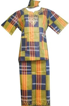 African Kids Kent Outfit Girl Skirt Suit Gold Green S Fit upto 36 034 arou African Dashiki Shirt, African Children, Ankara Skirt, Girls Blouse, Kids Pants, Party Shirts, Cotton Skirt, Skirt Suit, Blouses For Women