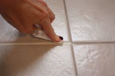 Easy Tile Upgrade with grout paint! I need to do this on my bathroom wall tiles! The Yellow Cape Cod: 31 Days of Character Building: Easy Tile Update {Tutorial} Grout Paint, Tile Grout, Tiles, Paint Bathroom, Grouting, Downstairs Bathroom, Design Bathroom, Small Bathroom, Bathroom Ideas