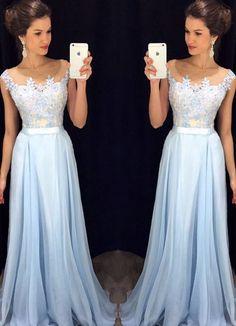Light blue A-line chiffon lace long prom dress, bridesmaid dress:
