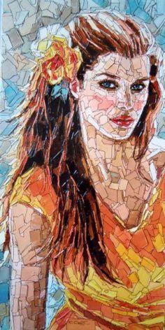 Art by Christian Malto Paper Mosaic, Mosaic Diy, Mosaic Glass, Glass Art, Collage Portrait, Mosaic Portrait, Portraits, Munier, Paper Collage Art