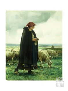 A Shepherdess with Her Flock Giclee Print by Julien Dupre at Art.com
