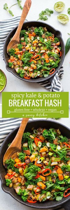 Home Made Doggy Foodstuff FAQ's And Ideas Spicy Kale Potato Breakfast Hash - A Bright, Medley Of Veggies And Spices Making For A Delicious, Egg-Free Friendly Breakfast Skillet That's Anything But Boring Paleo Vegan Breakfast Hash, Breakfast Potatoes, Breakfast Skillet, Paleo Breakfast, Breakfast Time, Gluten Free Recipes For Breakfast, Gluten Free Breakfasts, Brunch Recipes, Raw Food Recipes