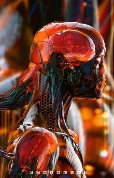 Cybernetics cyberpunk cyborg human robot design digital art render