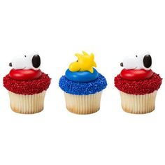 12 Peanuts Snoopy and Woodstock Cupcake Rings Cake Decor Toppers