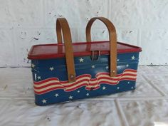 Vintage Patriotic Golden Cookies Metal Picnic Tin Basket Red White & blue    I have two .