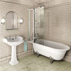 Traditional Roll Top Shower Bath with Shower Screen & Chrome Dragon Feet Freestanding Bath With Shower, Clawfoot Tub Shower, Tub And Shower Faucets, Bath Shower, Bathroom Showers, Bad Inspiration, Bathroom Inspiration, Bathroom Renos, Small Bathroom