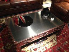 Metal and trunk coffee table by Flexsteel Furniture. // www.KeyHomeFurnishings.com