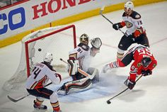 Chicago Blackhawks center Andrew Shaw reacts after scoring a goal past Anaheim Ducks goalie Frederik... - Jerry Lai/USA TODAY Sports