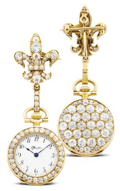 Tiffany & Co. A FINE YELLOW GOLD AND DIAMOND-SET OPEN-FACED KEYLESS PENDANT WATCH MVT 74533 CASE 227 CIRCA 1900 • jewelled movement with lever escapement • white enamel dial, Breguet numerals, blued steel hands • 18k yellow gold case, diamond-set bezel and case back, with matching diamond-set brooch pin • dial and movement signed by maker, case numbered
