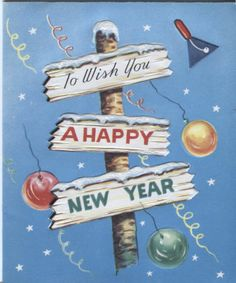 Vintage Christmas Card - New Year's Sign
