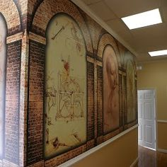 Other side of our Leonardo Da Vinci wall murals inside of our office in Warminster, PA