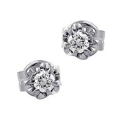#Pendientes compañero al anillo de compromiso, con garras ilusión, en #oro blanco y #diamantes