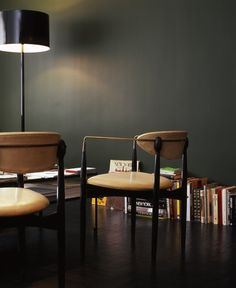 Vintage Chairs, Dark Walls, Green Walls, Wall Colors, Paint Colors,  Stylists, Product Design, Office Paint, Dark Shades