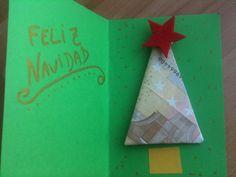 Cómo regalar dinero de una forma original - Manualidades Christmas Crafts, Christmas Decorations, Xmas, Tarjetas Diy, Kirigami, Ideas Para, Gift Wrapping, Diy Crafts, Homemade