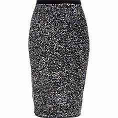 Black sequin embellished pencil skirt #riverisland