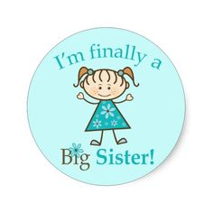 I'm Finally a Big Sister Stick Figure Girl Stickers