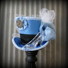 Cinderella Mini Top Hat, Blue and Black, Alice in Wonderland Mini Top Hat, Glass Slipper Mini Top Hat, STeampunk, Tea Party, Mad Hatter Hat