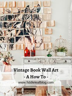Book wall tutorial vintage farmhouse decor - Fiddle Leaf Interiors . . #fiddleleafinteriors #diy #bookwall #vintagefarmhouse #accentwall