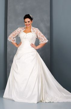 Plus Size Wedding Dress with Lace Shrug Jacket |  Most plus size bridal gowns we produce at less than $1000.  Go to www.dariuscordell.com/featured/plus-size-wedding-dresses-bridal-gowns/ for more information