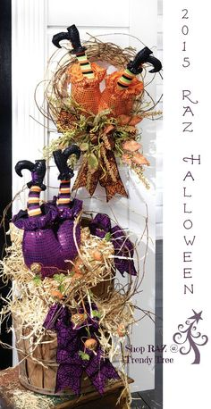 Great decorating ideas from RAZ for their 2015 Witch Butt with Legs Halloween decoration. Put them on your Wish List at Trendy Tree today - arriving Summer 2015! #TrendyTree #Halloween #RAZ