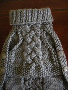 Tricotés à la main de pull nattée touche Down gris argenté a0f41121c01