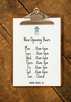 New Opening Hours as the lovely Ali has escaped the island & found a sunnier climate! But it also means we will have some lovely new brands from Australia! Any queries give me a shout jen@mosscottage.ie :)
