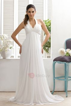 Tidebuy.com Offers High Quality Plain Empire Waist Court Train Halter Top Taline's Wedding Dress, We have more styles for Plus Size Wedding Dresses (Free Shipping)