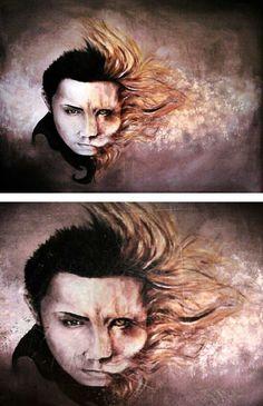 #painting #human #animal #lion #art #artist #myart #portrait #leo #hybrid #boy #men #face #people #human