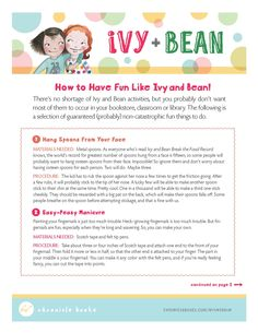 Ivy & Bean Book Club: Discussion Questions, & Craft | Book ...