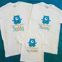 Monster Themed Birthday Shirts for Mommy Daddy and Sibling